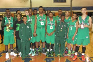 White Station Eighth Grade Boys. Front row left to right: Trey Davis, Larry Finch, Taj Tunstall, Rodney Mason, Braxton Winford, Kevon Woodley, James Baker, Ryan Dortch and Calvin Temple;                                                Back row: Jordan Donaldson, Lincoln Caldwell, Michael Skinner, Jacoby Hewitt, CJ Garner, Chris Shed, Avant Blueitt