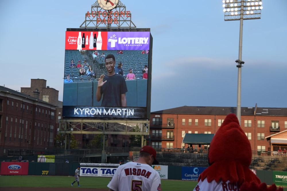 MAM's Kyron Martin throws first pitch at Memphis Redbirds game